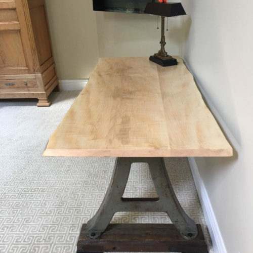 Curly Maple Desk with Vintage Cast Iron Base