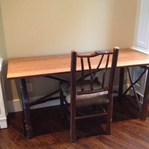 Desk in Reclaimed Quarter Sawn Red Oak with Rustic Hickory Base