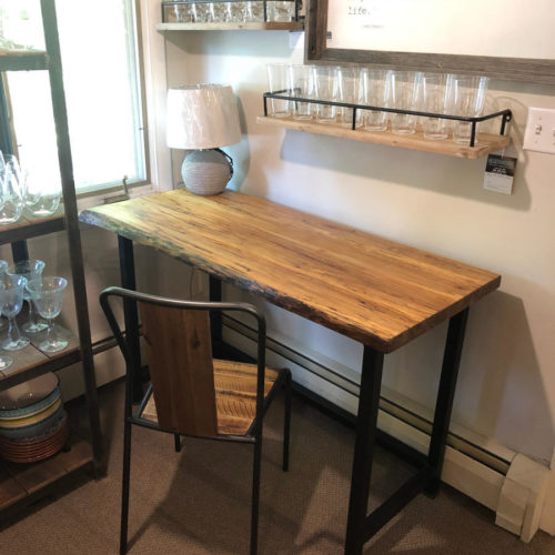 Desk in spalted maple with tubular steel base