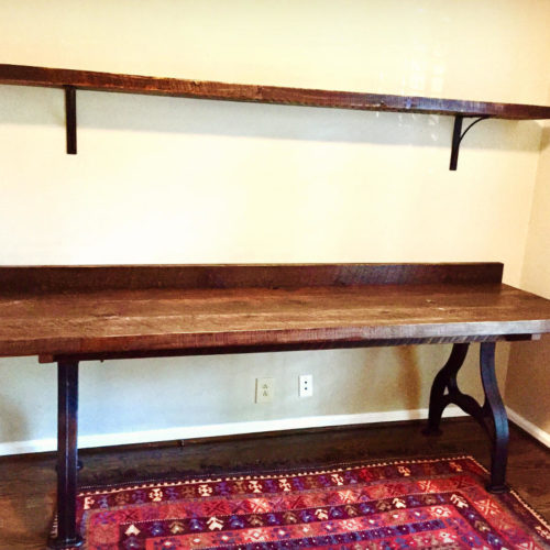 Desk in Weathered White Pine with Industrial Cast Iron Base
