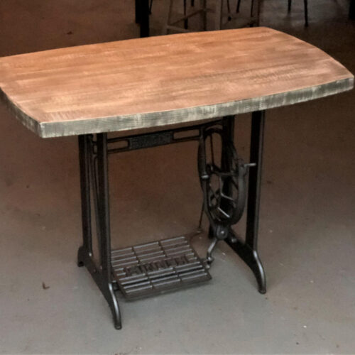 """Desk with Vintage Singer Sewing Base and Weathered Pine Top with """"Beach"""" Finish"""