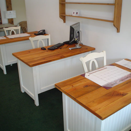 Cottage Desk with Bead Board and Antique Reclaimed Heart Pine Top