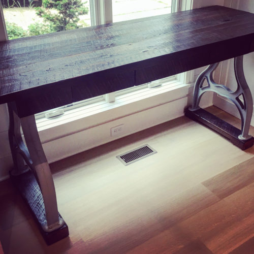 Console Table in Oak with Industrial Cast Iron Base