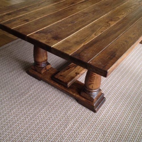 Dining Table in Antique Reclaimed Pine and Turned Pine Legs