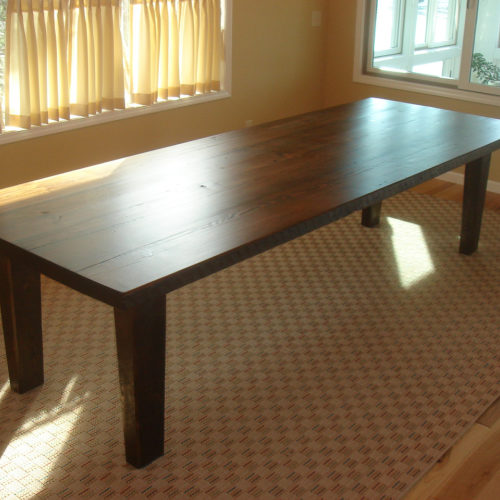 Dining Table in Weathered White Pine Smooth Finish and Tapered Leg