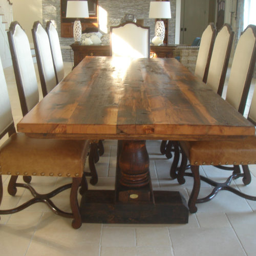 Dining Table in Antique Reclaimed Heart Pine with Turned Pine Legs