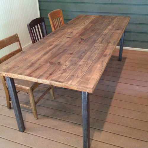 Dining Table in Antique Reclaimed Heart Pine with Tubular Steel Base