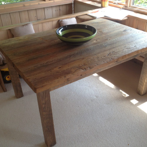 Dining Table in Antique Reclaimed White Pine with Reclaimed Oak Barn Beam Base