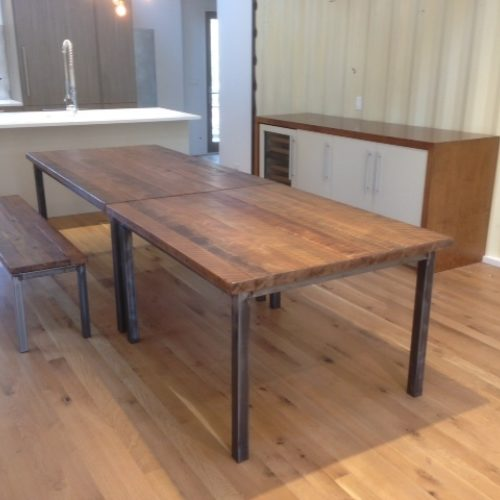 Dining Table and Bench in Reclaimed Oak with Tubular Steel Base