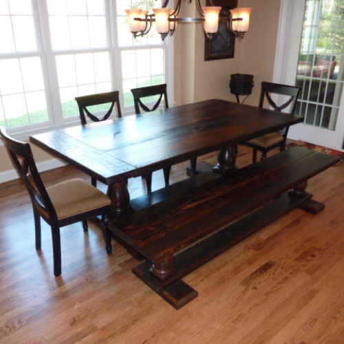 Dining Table and Bench in Reclaimed Southern Yellow Heart Pine with Turned Legs and Black Walnut Stain