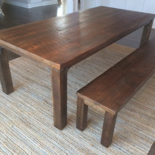 Dining Table and Bench in Weathered White Pine with Reclaimed Antique Oak Legs