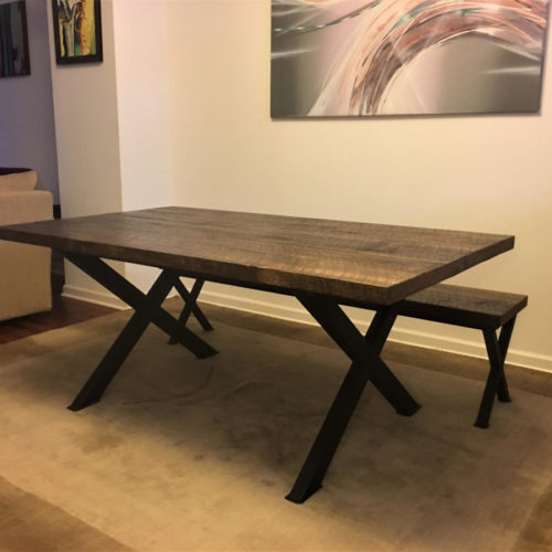 Dining Table and Bench with Steel X Base and Weathered White Pine Top