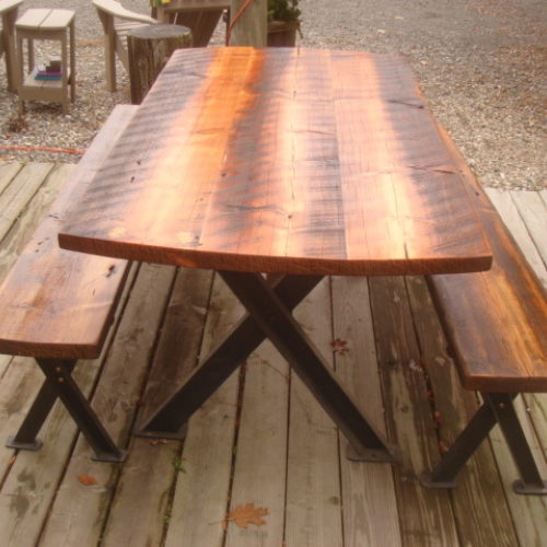 Dining Table and Benches in Reclaimed Antique Pine with Angle Iron Steel Cross Base
