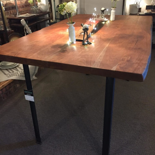 Counter Height Dining Table in Natural Edge Cherry with Steel Angle Iron Base
