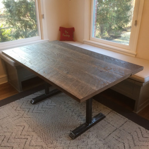 Dining Table in Weathered White Pine with Steel I-Beam Base