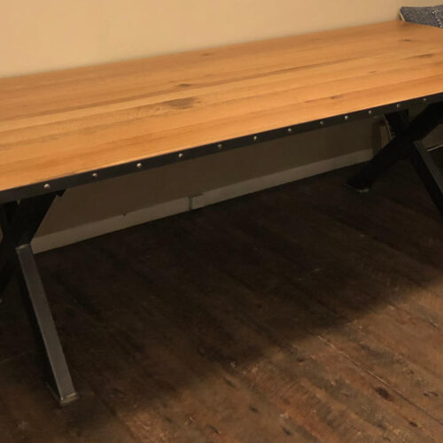 Dining Table in Antique Oak with Metal Edge Detail and Steel Base