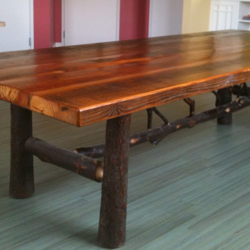 Dining Table in Antique Reclaimed Heart Pine from Studebaker Bldg with Hickory Base