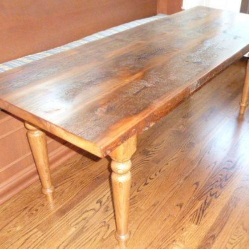 Dining Table in Antique Reclaimed Heart Pine with Reclaimed Heart Pine Turned Legs