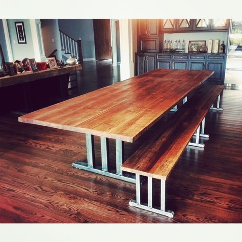 Dining Table in Antique Reclaimed Heart Pine with Tubular Steel Arts and Crafts Base