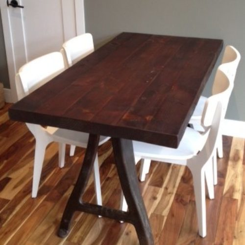 Dining Table in Antique Reclaimed Heart Pine with Vintage Industrial Base