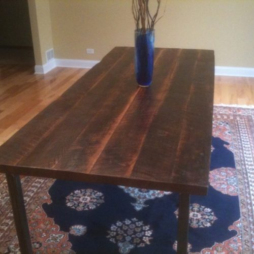 Dining Table in Antique Reclaimed Oak with Tubular Steel Base