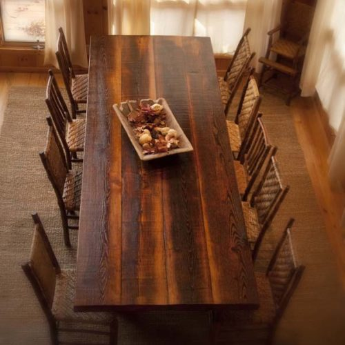 Dining Table in Antique Reclaimed Pine with Hickory Base