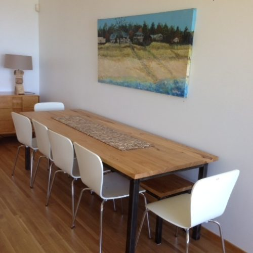 Dining Table in Antique Reclaimed Pine with Tubular Steel Base