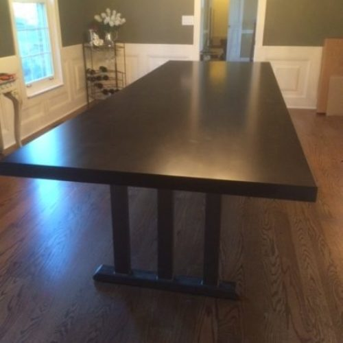 Dining Table in Maple with Ebony finish and Tubular Steel Arts and Crafts Base