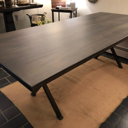 Dining Table in Maple with Smoky Gray finish and Steel X base