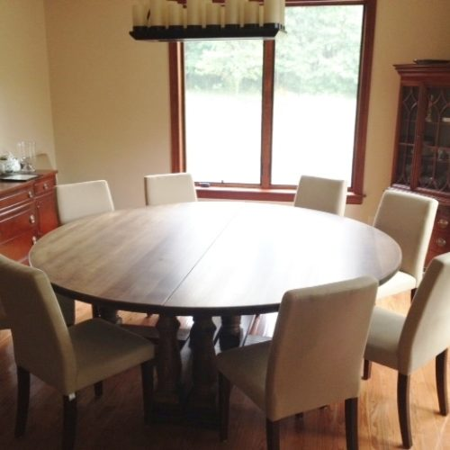 Dining Table in Quarter-Sawn Oak with Turned Legs