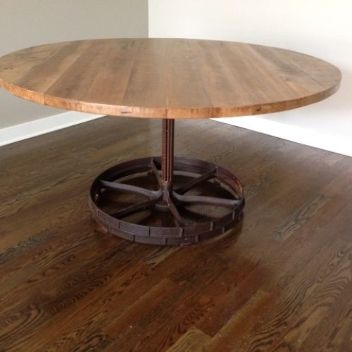 Dining Table in Reclaimed Antique Maple with Vintage Industrial Gear Base