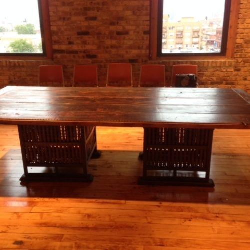 Board Room Conference Table in Reclaimed Antique Pine with Antique Industrial Base
