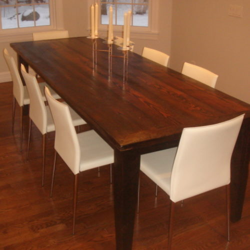 Dining Table in Reclaimed Antique Pine with Tapered Leg Base