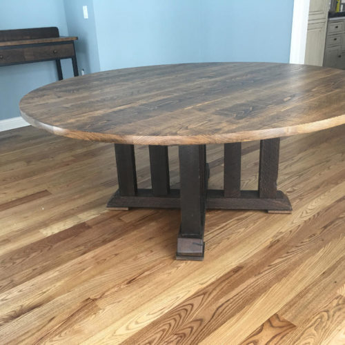 Dining Table in Reclaimed Rough Sawn Oak with Reclaimed Oak Beam Base
