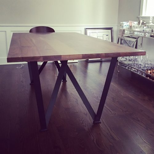 Dining Table in Rustic Walnut with Steel Base