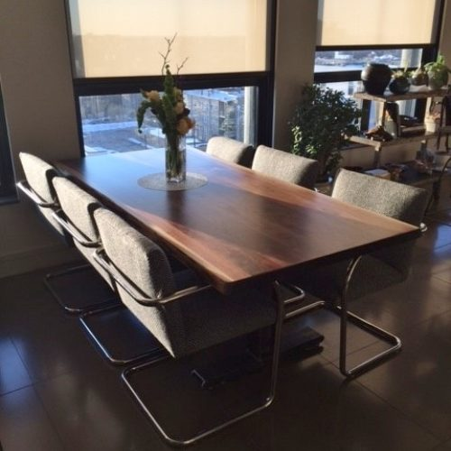 Dining Table in Walnut with Steel C Channel Base