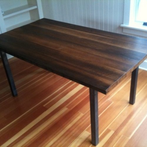 Dining Table in Walnut with Tubular Steel Base