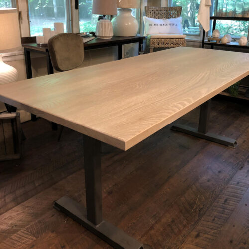 Dining Table in White Oak with Ceruse Finish and Steel Base
