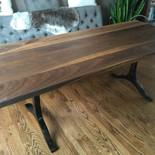 Dining Table with Walnut top and Steel Base