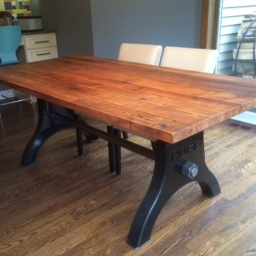 Dining Table with Antique Reclaimed Maple Top and Industrial Base