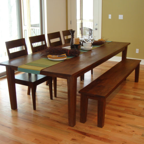 Dining Table and Bench in Old Growth Reclaimed Walnut