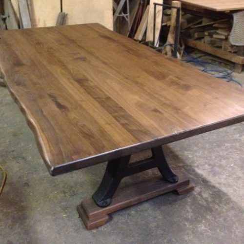 Dining Table with Live Edge Walnut Top and Vintage Cast Iron Industrial Base
