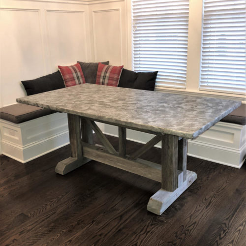 Dining Table with Metal Patina Top and Douglas Fir Trestle Base