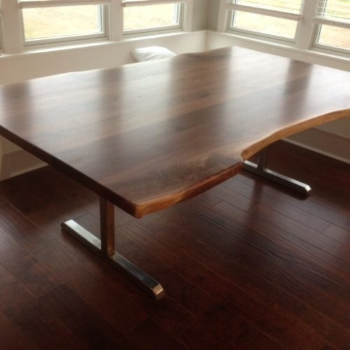 Dining Table with Natural Edge Walnut Slab and Stainless Steel Base