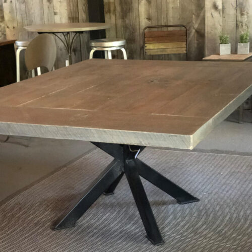 Dining Table with Pyramid Steel Base and Weathered Grey Top