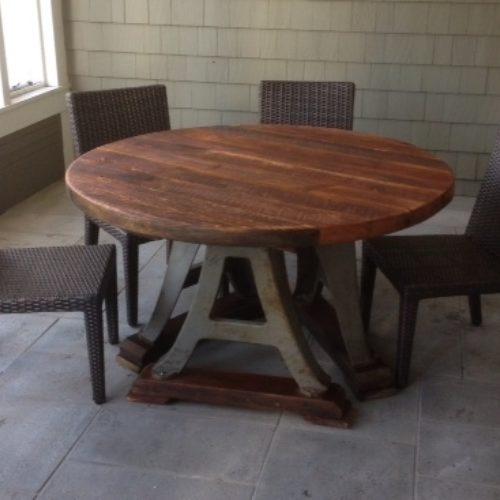 Dining Table with Reclaimed Pine Top and Industrial Cast Iron Base