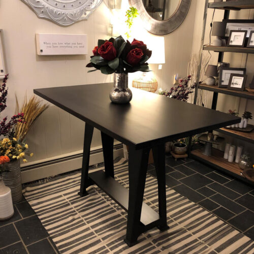 Dining Table with vintage cast iron base and vertical grain Douglas Fir with ebony stain