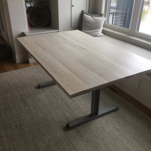 Dining Table with White Washed Oak Top and Steel C Channel Base