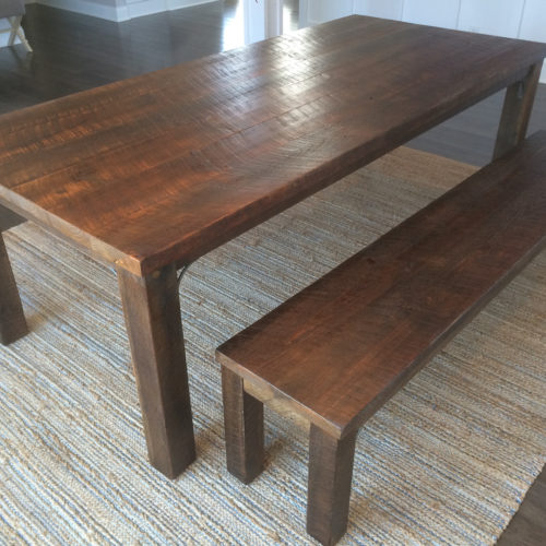 Dining Table and Benches in Reclaimed Weathered White Pine with Steel Supports