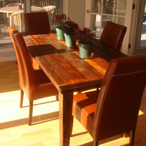 Dining Table in Reclaimed Antique Pine with Tapered Legs